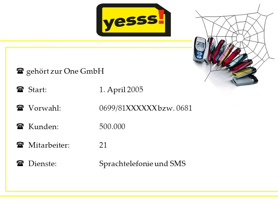 gehört zur One GmbH Start: 1. April 2005. Vorwahl: 0699/81XXXXXX bzw. 0681. Kunden: 500.000.