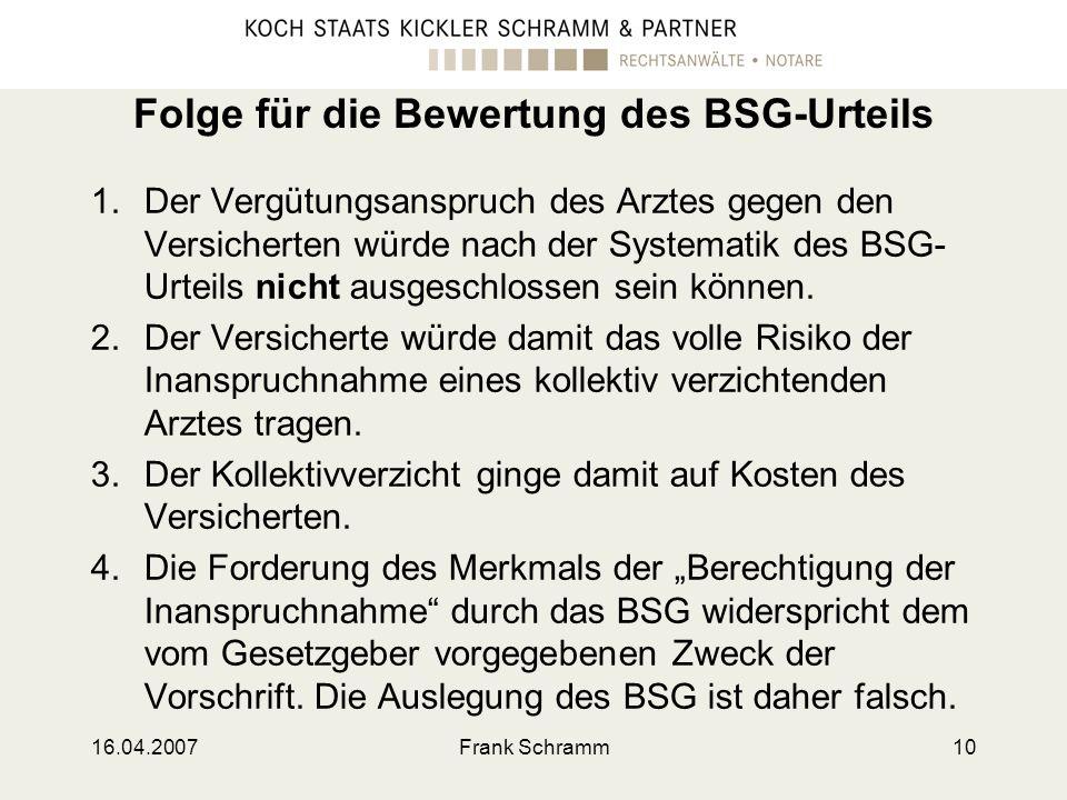 Folge für die Bewertung des BSG-Urteils