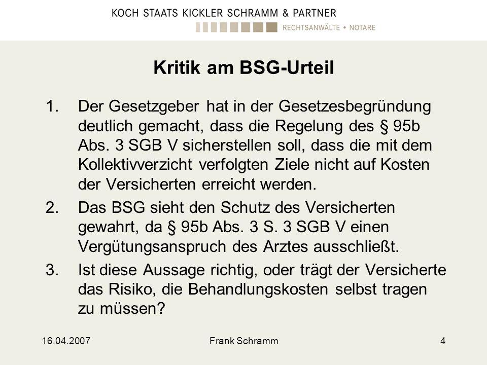 Kritik am BSG-Urteil