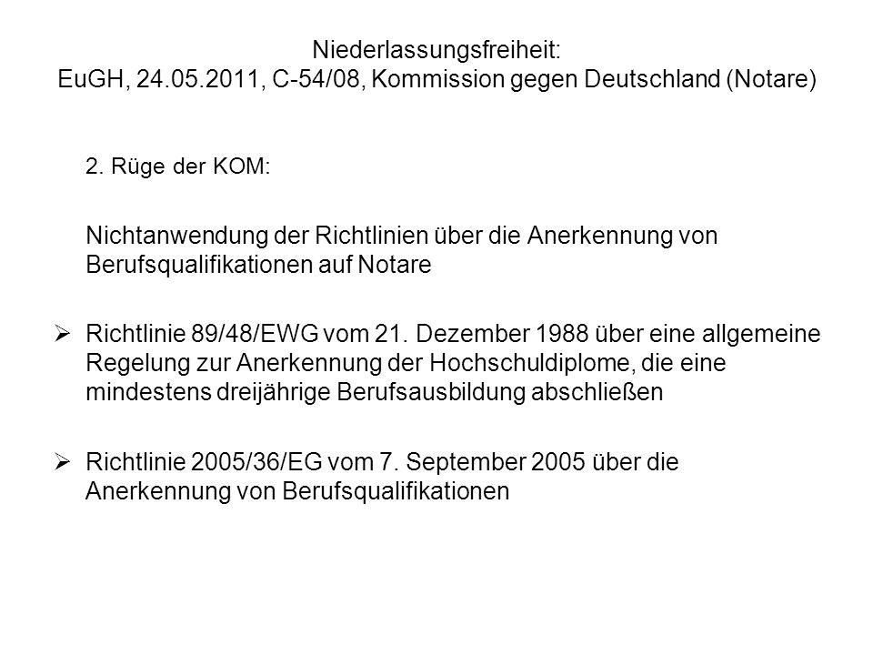 Niederlassungsfreiheit: EuGH, 24. 05