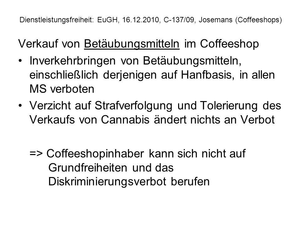 Verkauf von Betäubungsmitteln im Coffeeshop