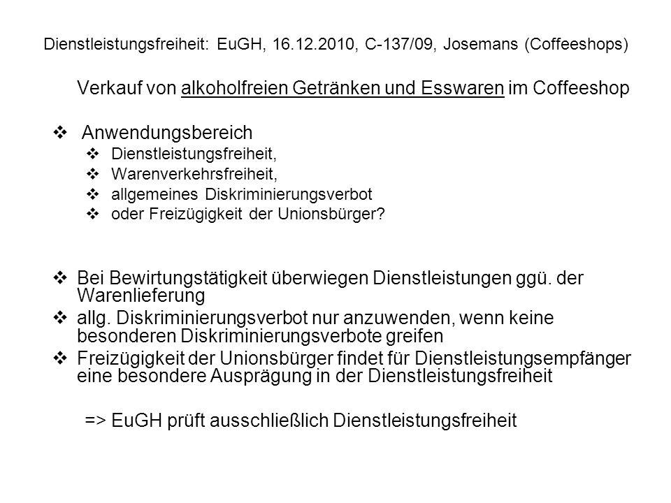 Verkauf von alkoholfreien Getränken und Esswaren im Coffeeshop