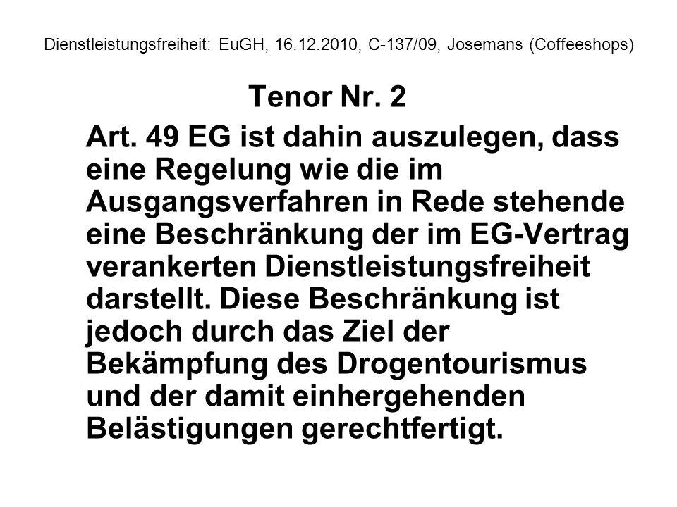 Dienstleistungsfreiheit: EuGH, 16. 12