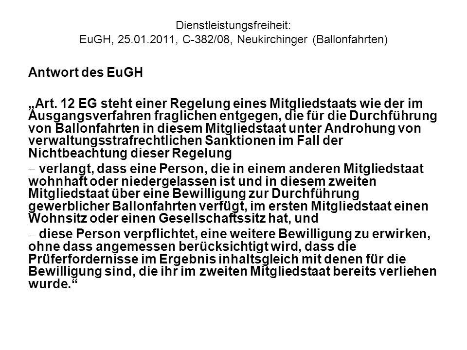 Dienstleistungsfreiheit: EuGH, 25. 01