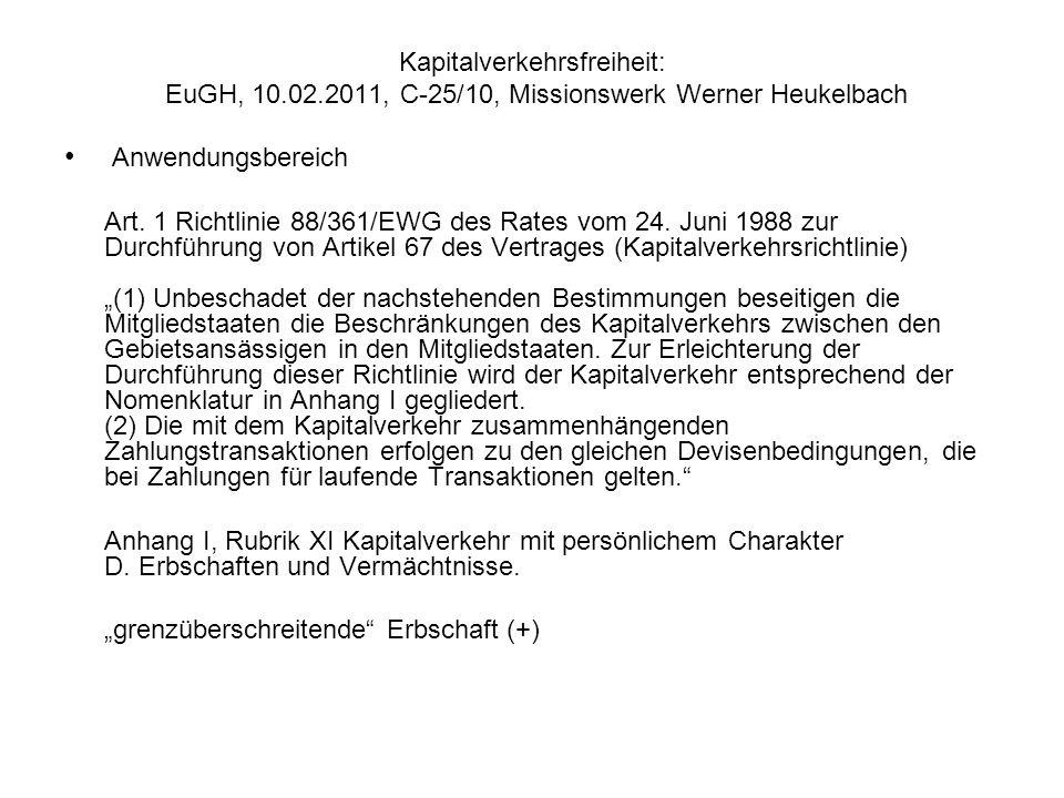 Kapitalverkehrsfreiheit: EuGH, 10. 02
