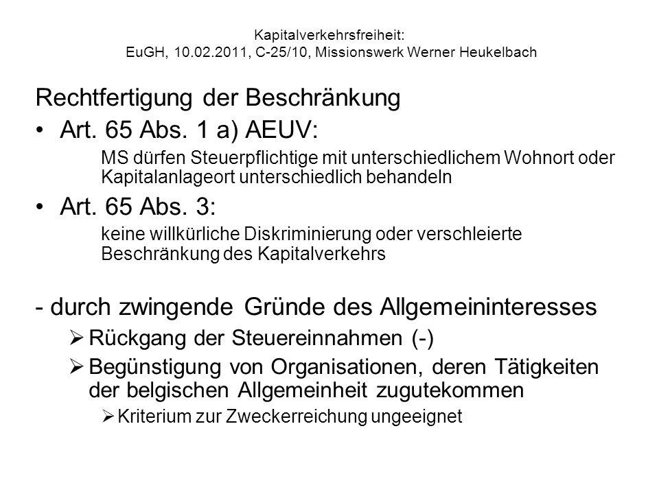 Rechtfertigung der Beschränkung Art. 65 Abs. 1 a) AEUV: