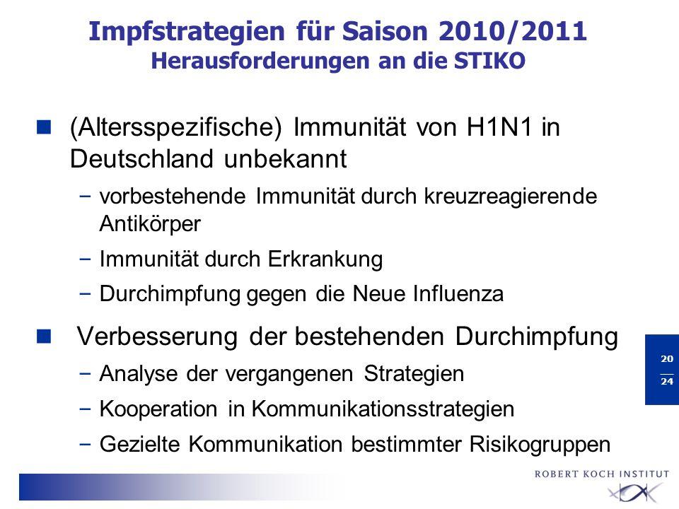 Impfstrategien für Saison 2010/2011 Herausforderungen an die STIKO