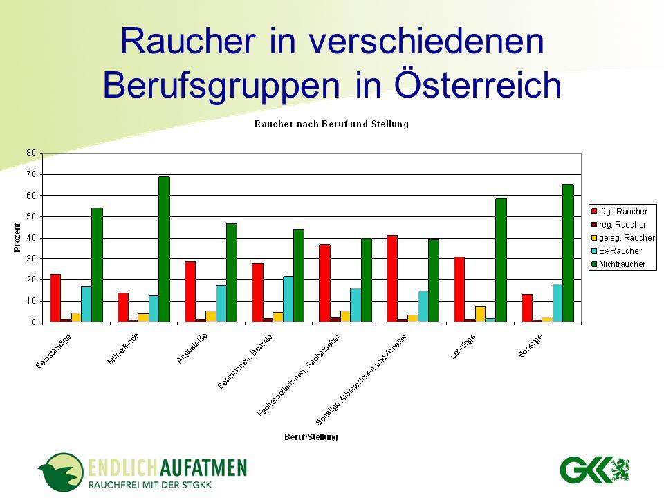 Raucher in verschiedenen Berufsgruppen in Österreich