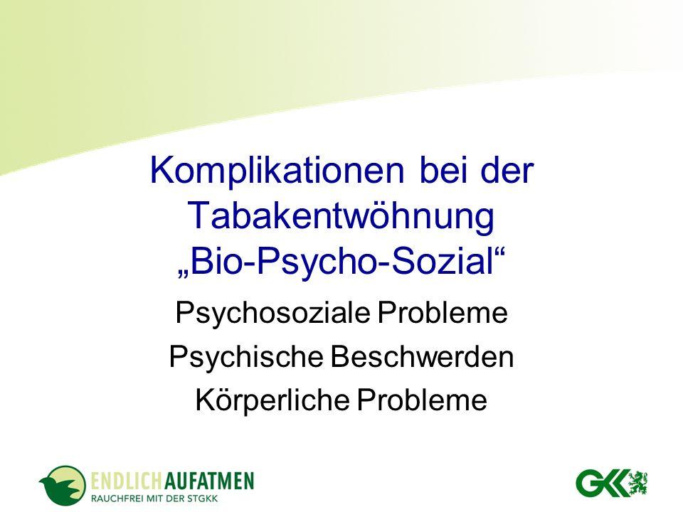 """Komplikationen bei der Tabakentwöhnung """"Bio-Psycho-Sozial"""