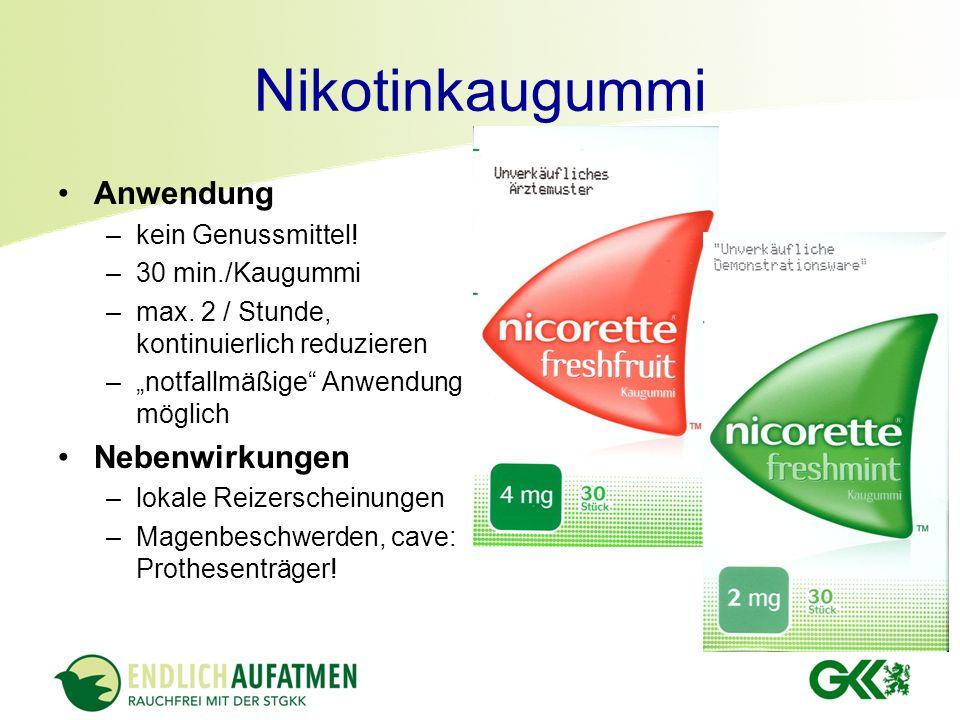 Nikotinkaugummi Anwendung Nebenwirkungen kein Genussmittel!