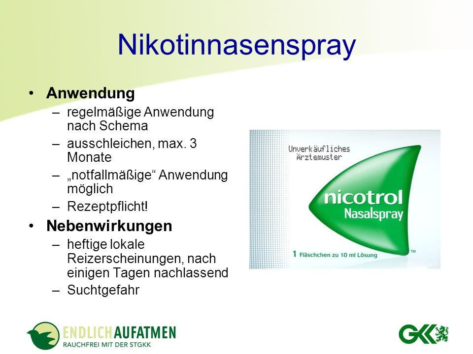 Nikotinnasenspray Anwendung Nebenwirkungen
