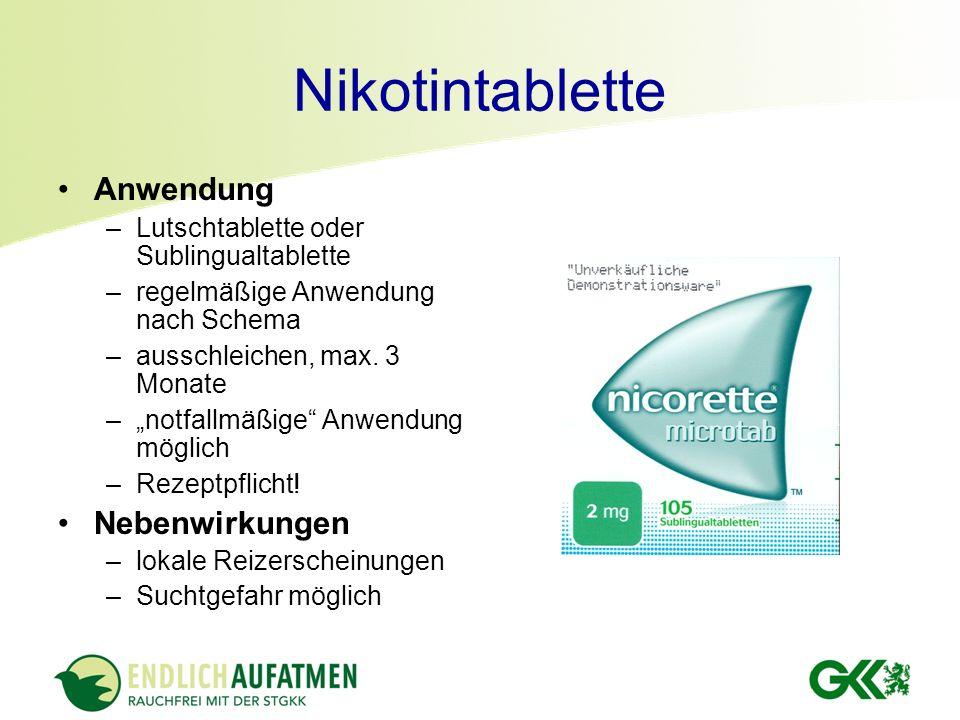 Nikotintablette Anwendung Nebenwirkungen