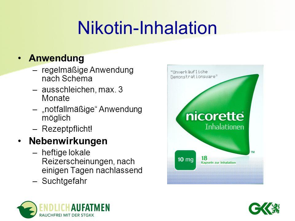 Nikotin-Inhalation Anwendung Nebenwirkungen