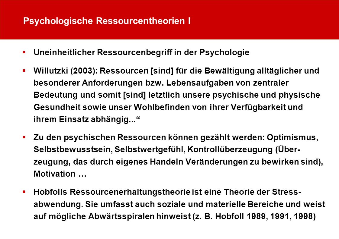 Psychologische Ressourcentheorien I