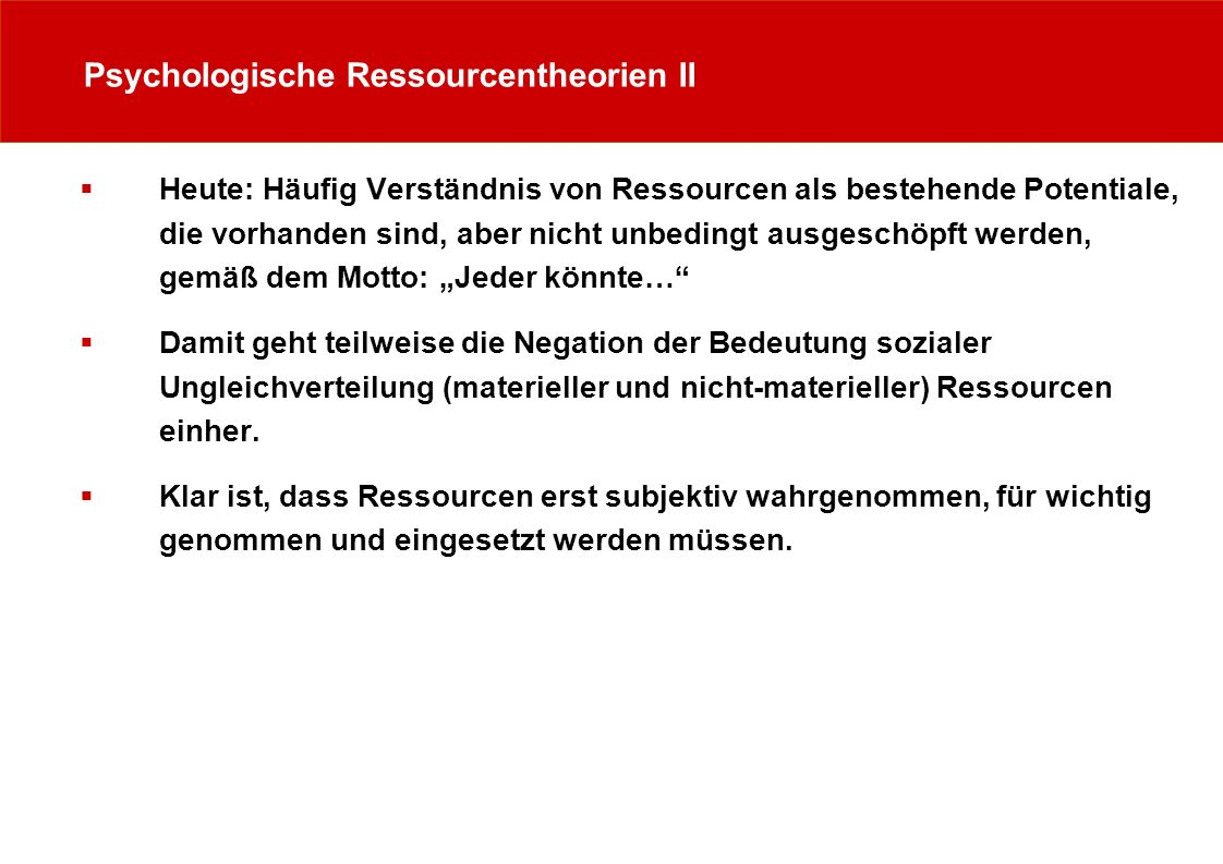 Psychologische Ressourcentheorien II
