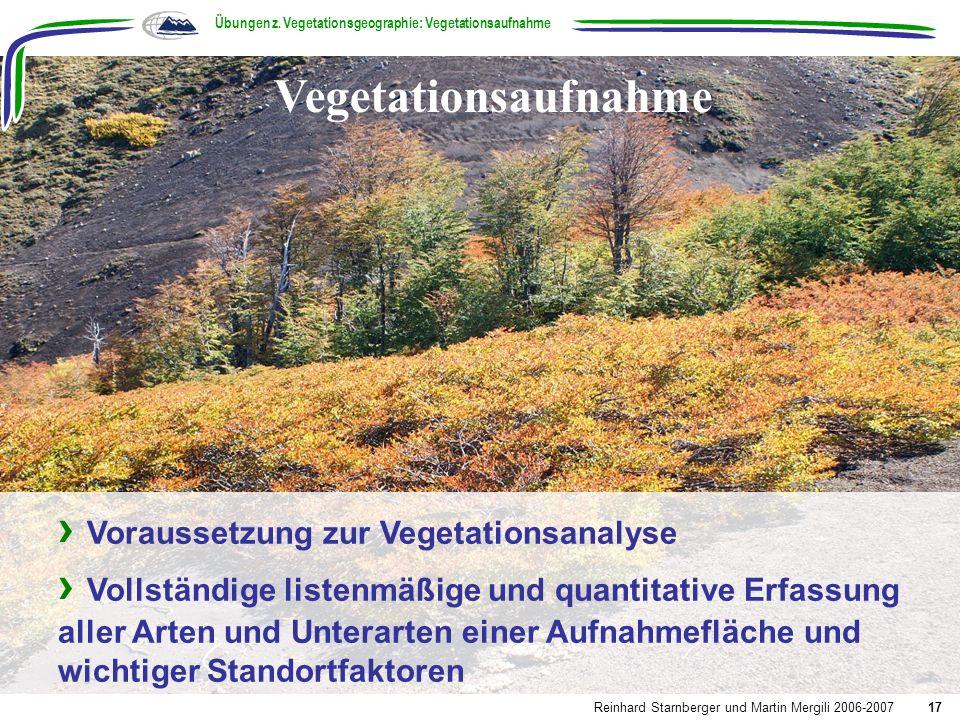 Übungen z. Vegetationsgeographie: Vegetationsaufnahme