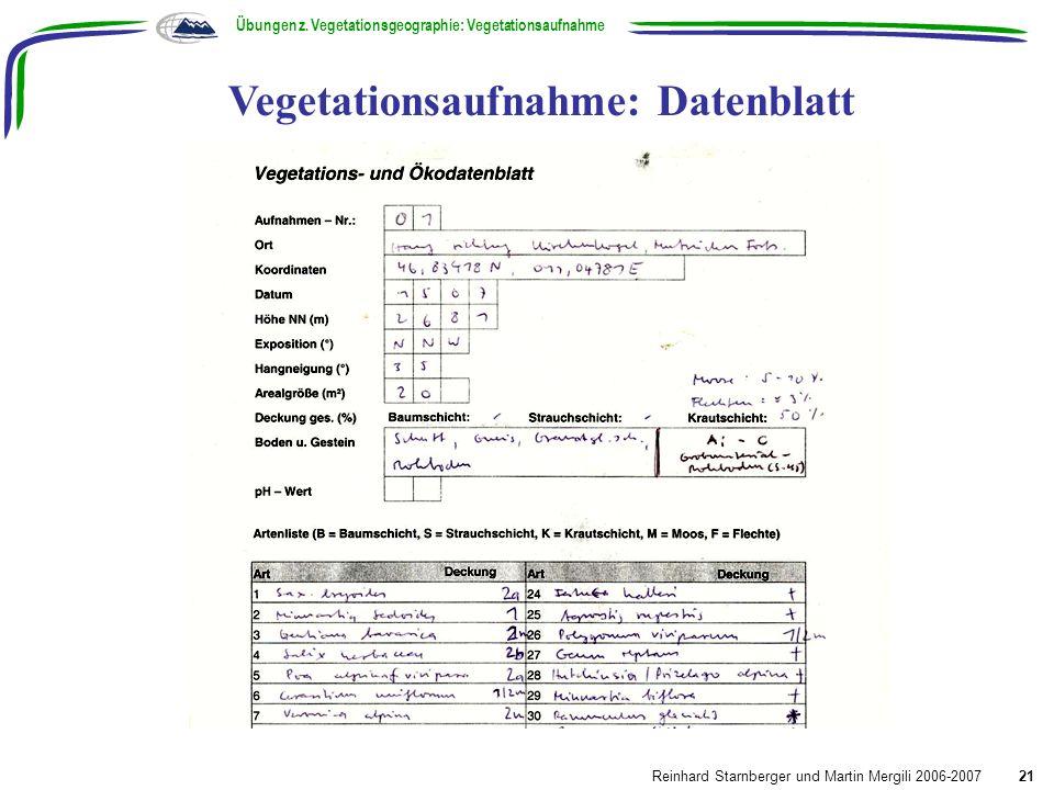 Vegetationsaufnahme: Datenblatt