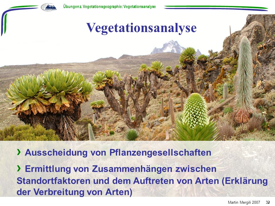 Übungen z. Vegetationsgeographie: Vegetationsanalyse