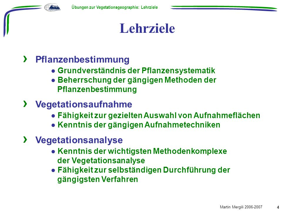 Übungen zur Vegetationsgeographie: Lehrziele