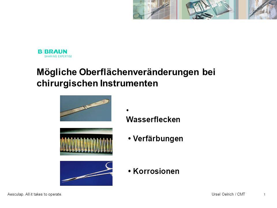 Mögliche Oberflächenveränderungen bei chirurgischen Instrumenten