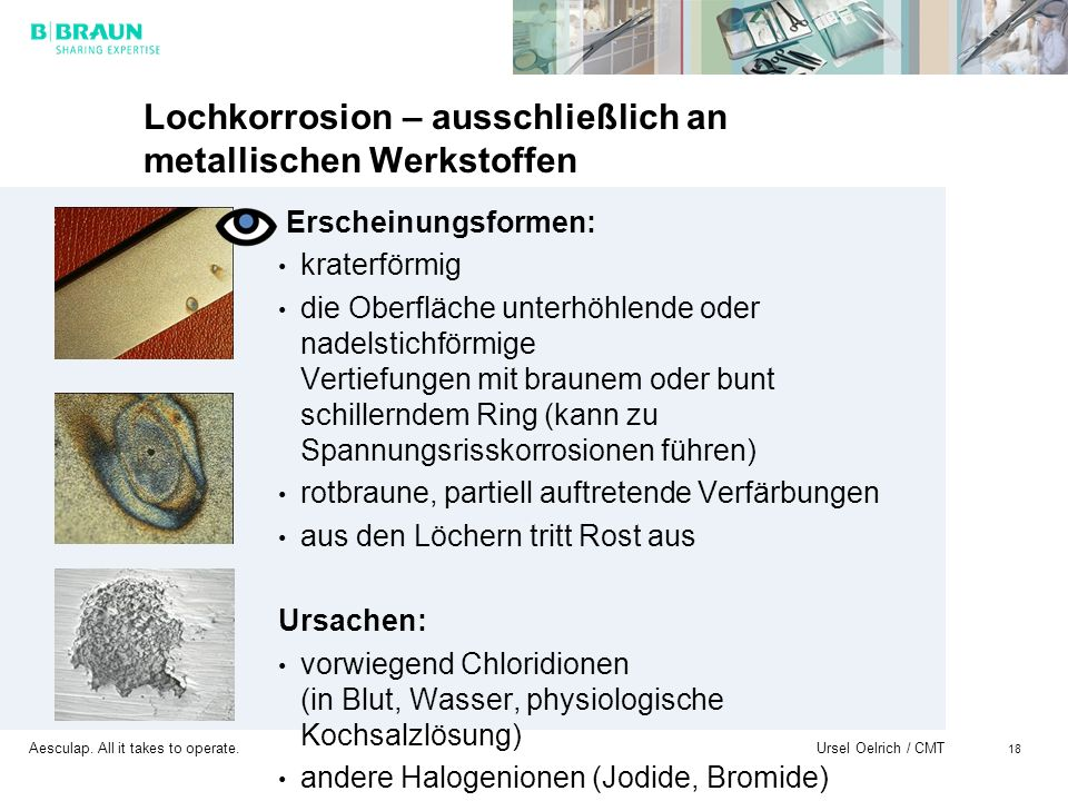 Lochkorrosion – ausschließlich an metallischen Werkstoffen