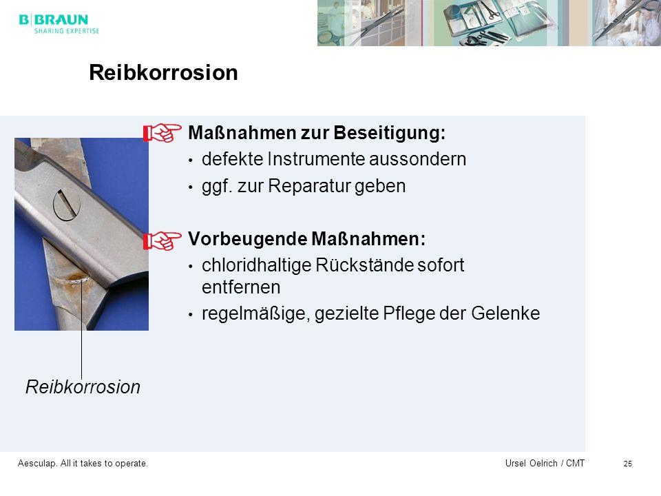 Reibkorrosion Maßnahmen zur Beseitigung: