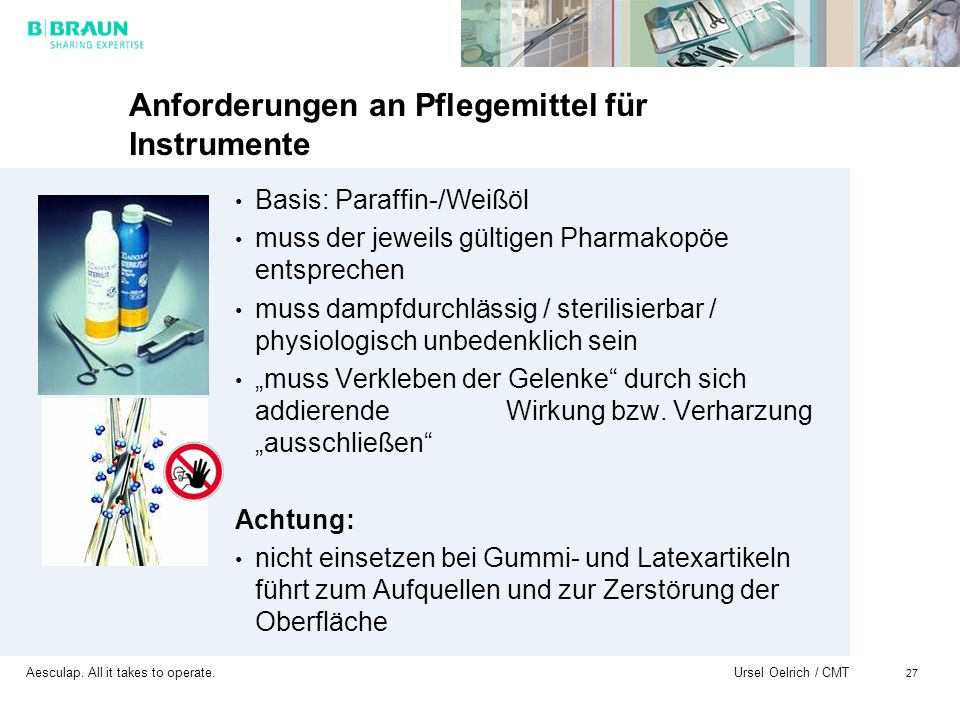 Anforderungen an Pflegemittel für Instrumente