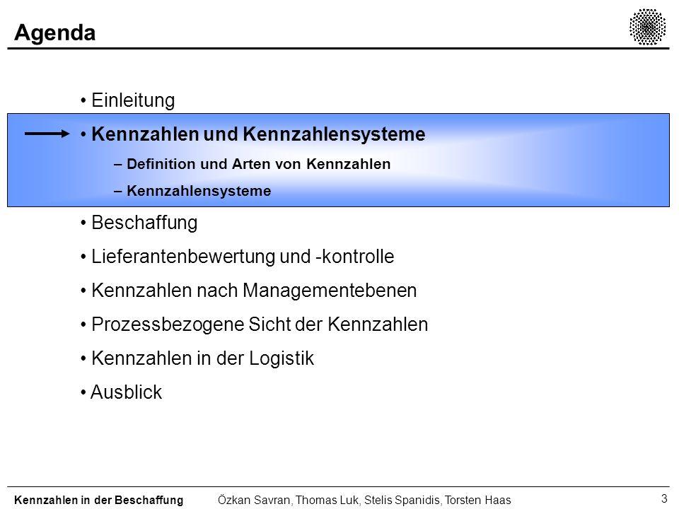 Agenda Einleitung Kennzahlen und Kennzahlensysteme Beschaffung