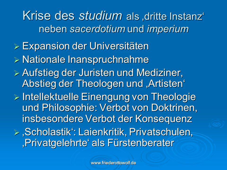Krise des studium als 'dritte Instanz' neben sacerdotium und imperium