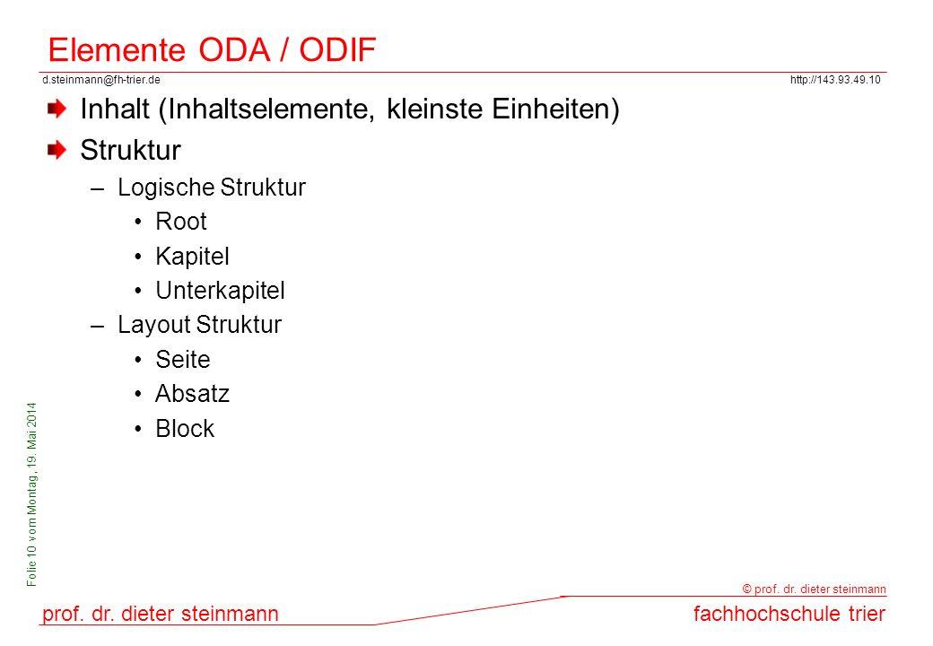 Elemente ODA / ODIF Inhalt (Inhaltselemente, kleinste Einheiten)