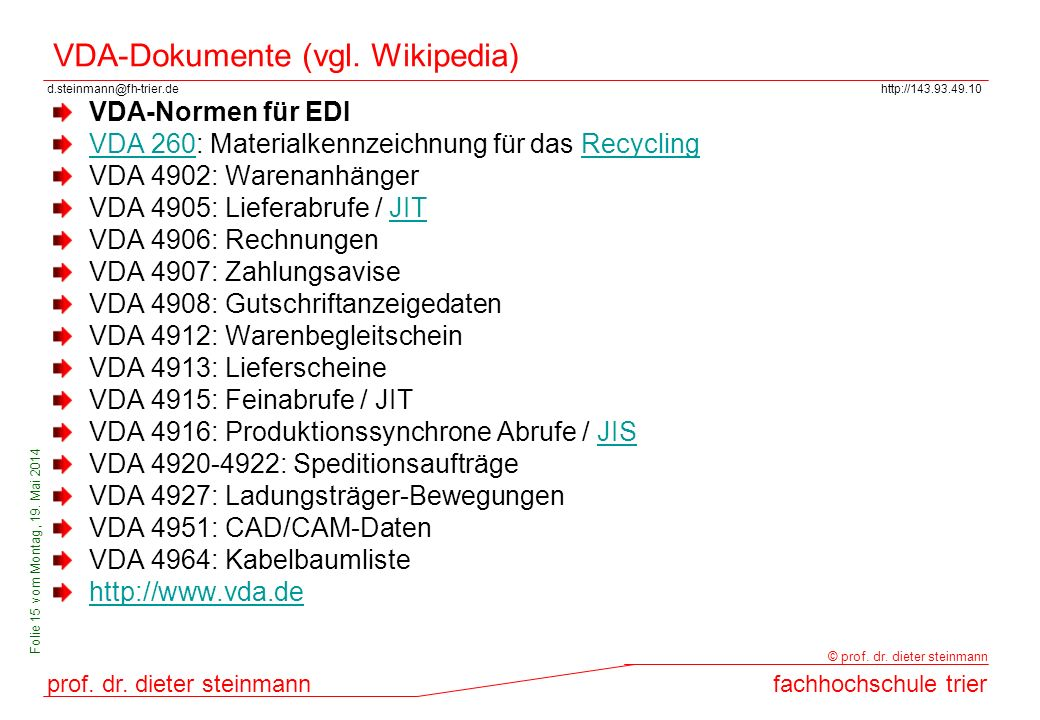 VDA-Dokumente (vgl. Wikipedia)
