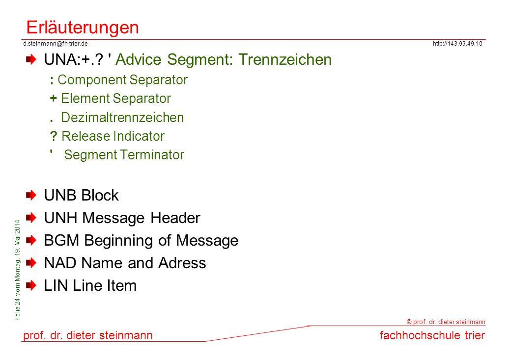 Erläuterungen UNA:+. Advice Segment: Trennzeichen UNB Block