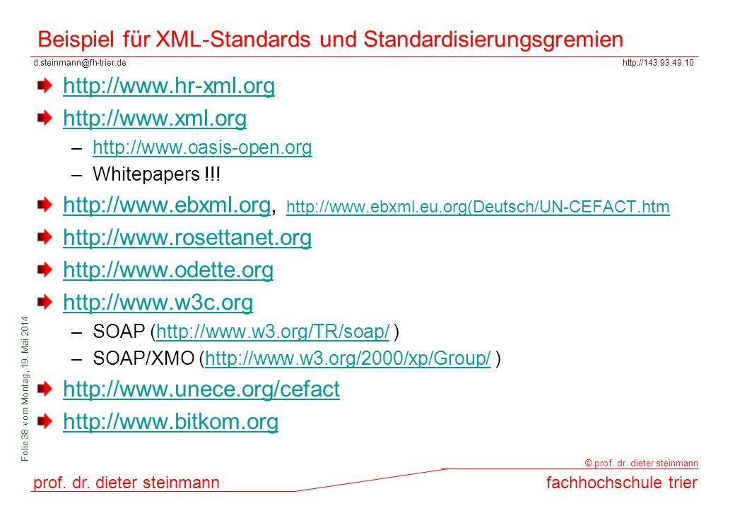 Beispiel für XML-Standards und Standardisierungsgremien