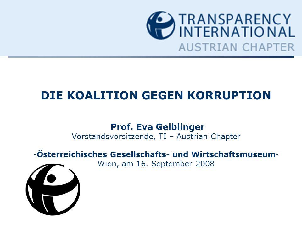 DIE KOALITION GEGEN KORRUPTION Prof