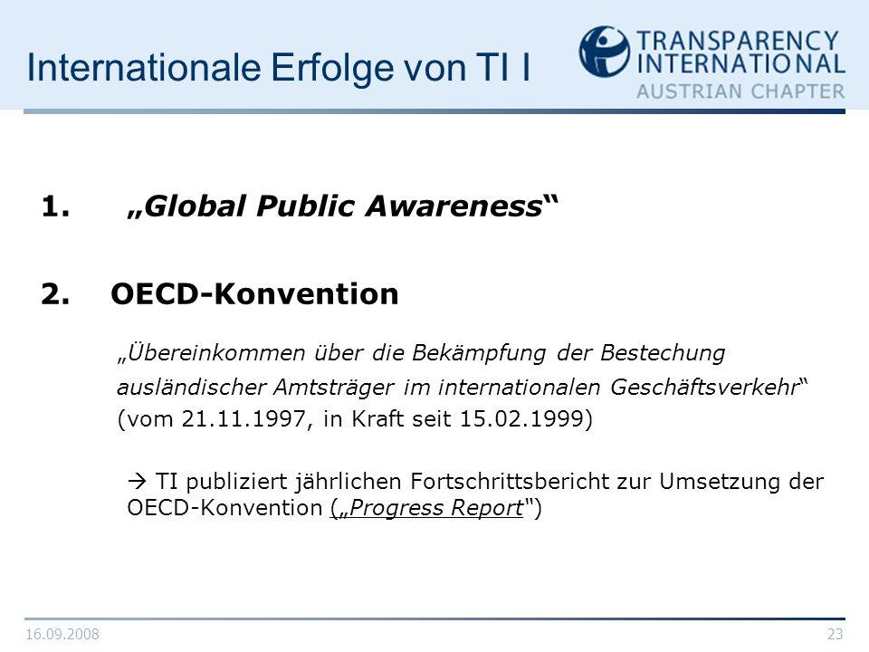 Internationale Erfolge von TI I