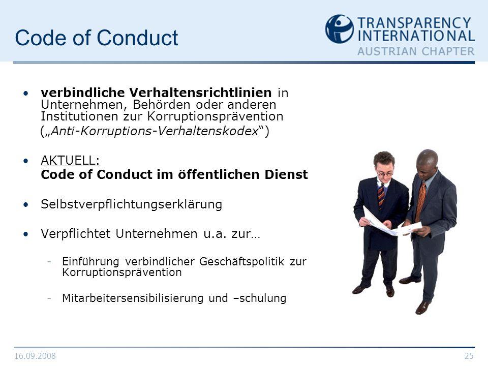 Code of Conduct verbindliche Verhaltensrichtlinien in Unternehmen, Behörden oder anderen Institutionen zur Korruptionsprävention.