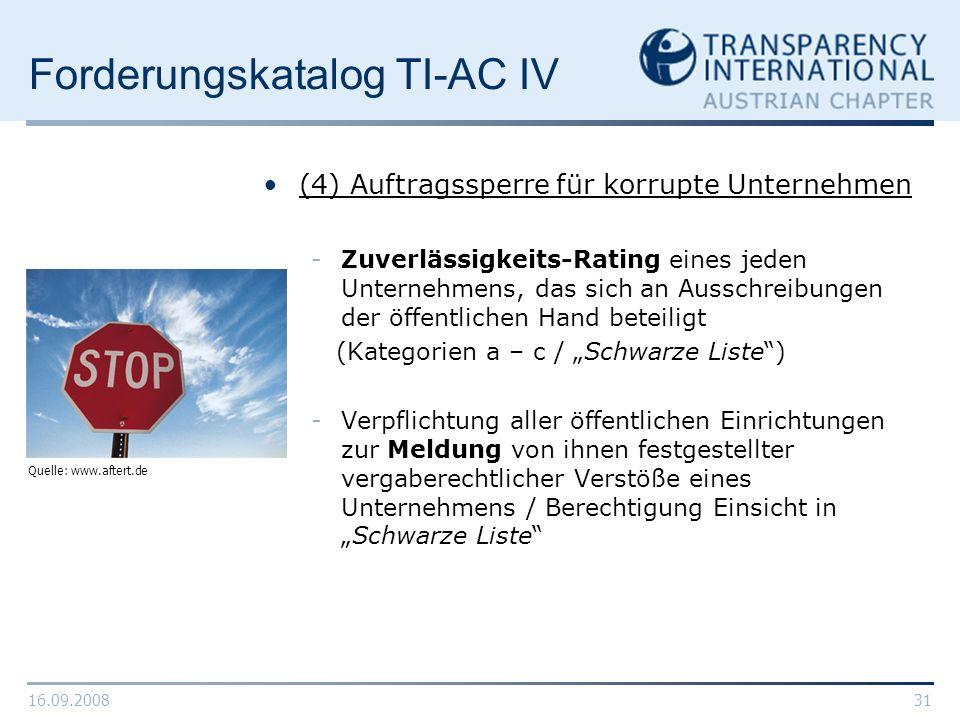 Forderungskatalog TI-AC IV