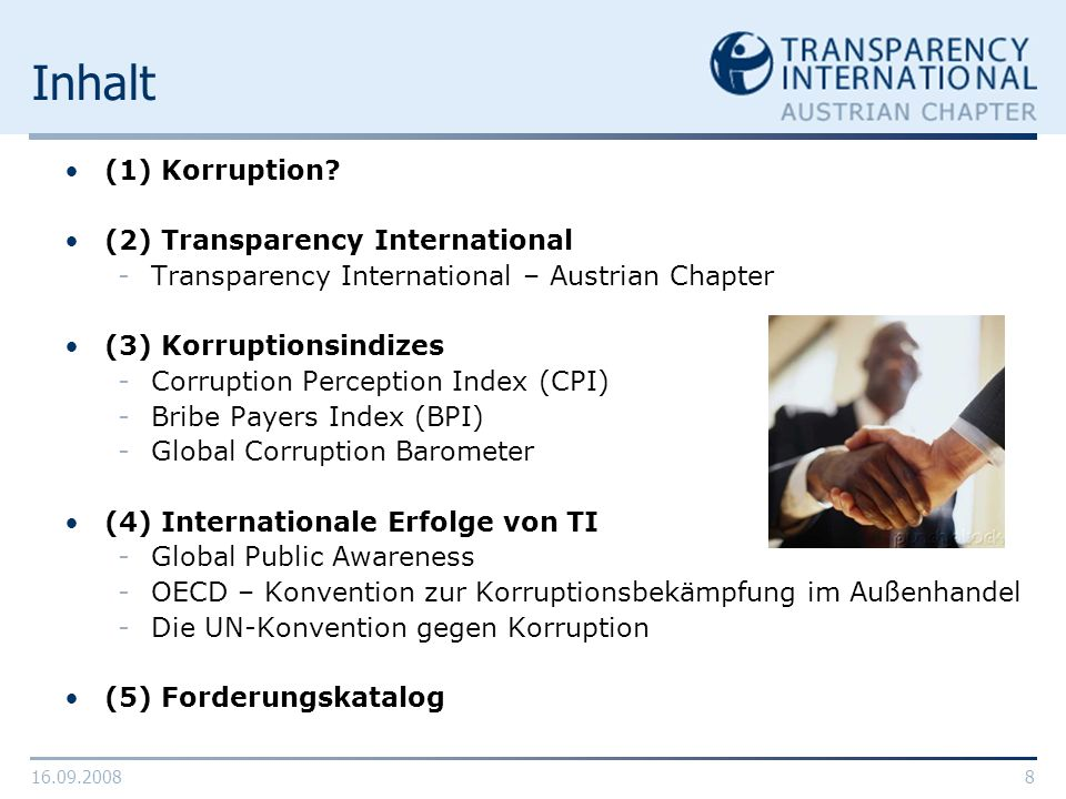 Inhalt (1) Korruption (2) Transparency International