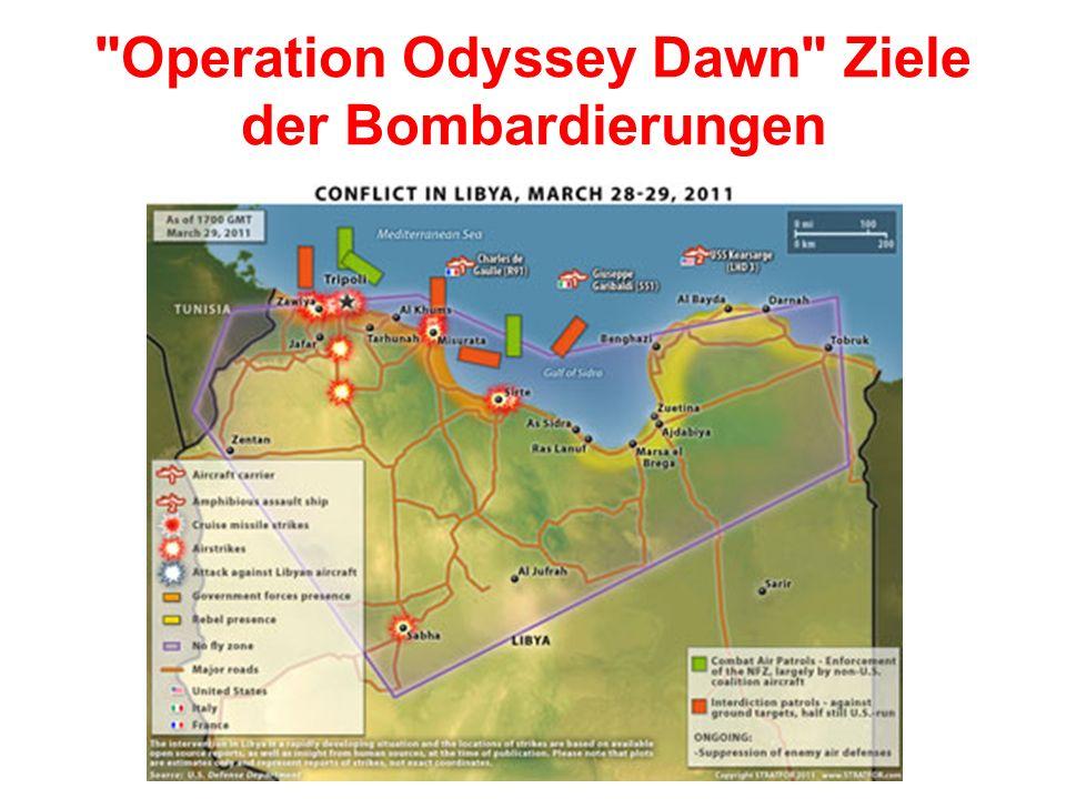 Operation Odyssey Dawn Ziele der Bombardierungen