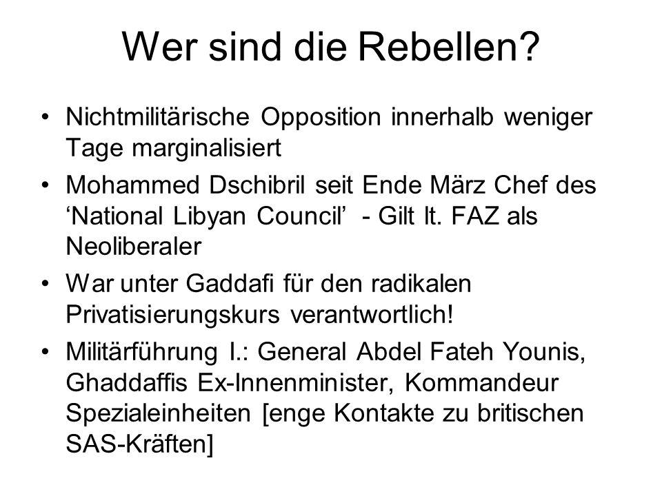 Wer sind die Rebellen Nichtmilitärische Opposition innerhalb weniger Tage marginalisiert.