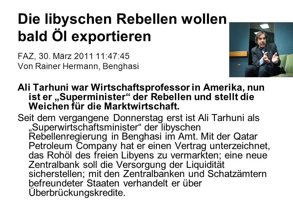 Die libyschen Rebellen wollen bald Öl exportieren