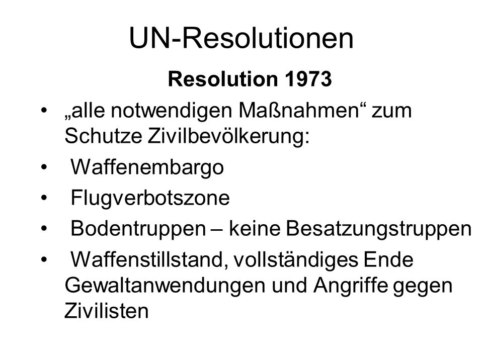 UN-Resolutionen Resolution 1973