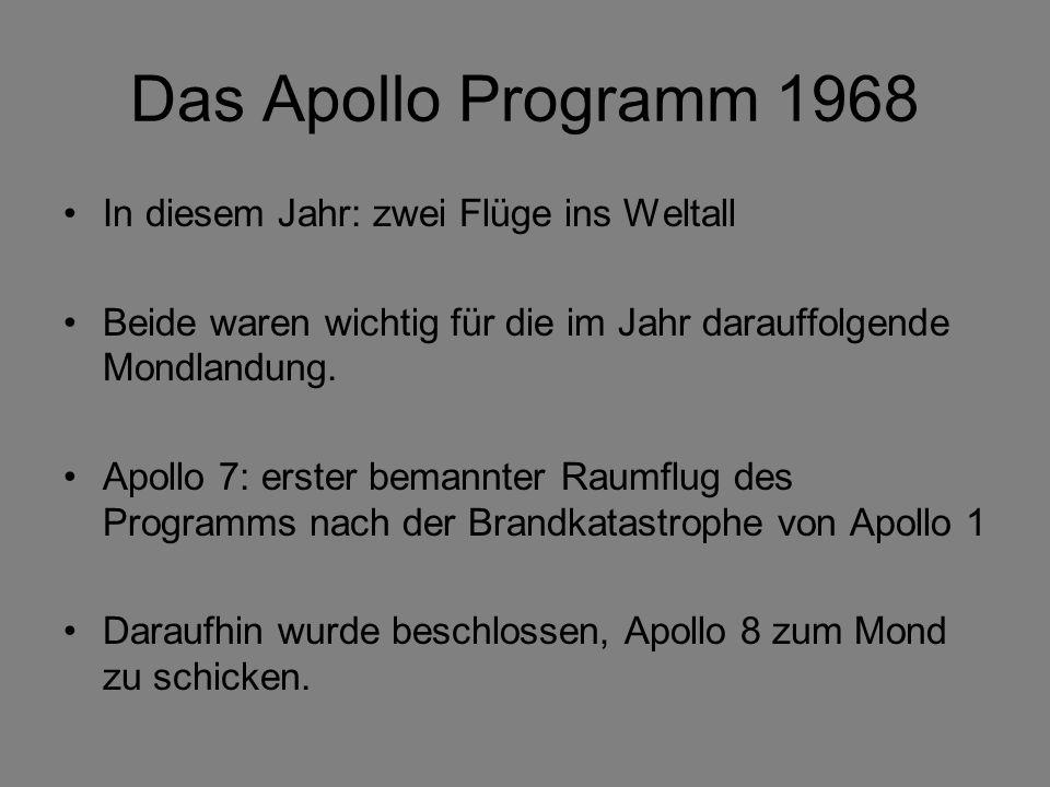Das Apollo Programm 1968 In diesem Jahr: zwei Flüge ins Weltall