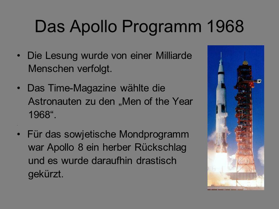 Das Apollo Programm 1968 Die Lesung wurde von einer Milliarde