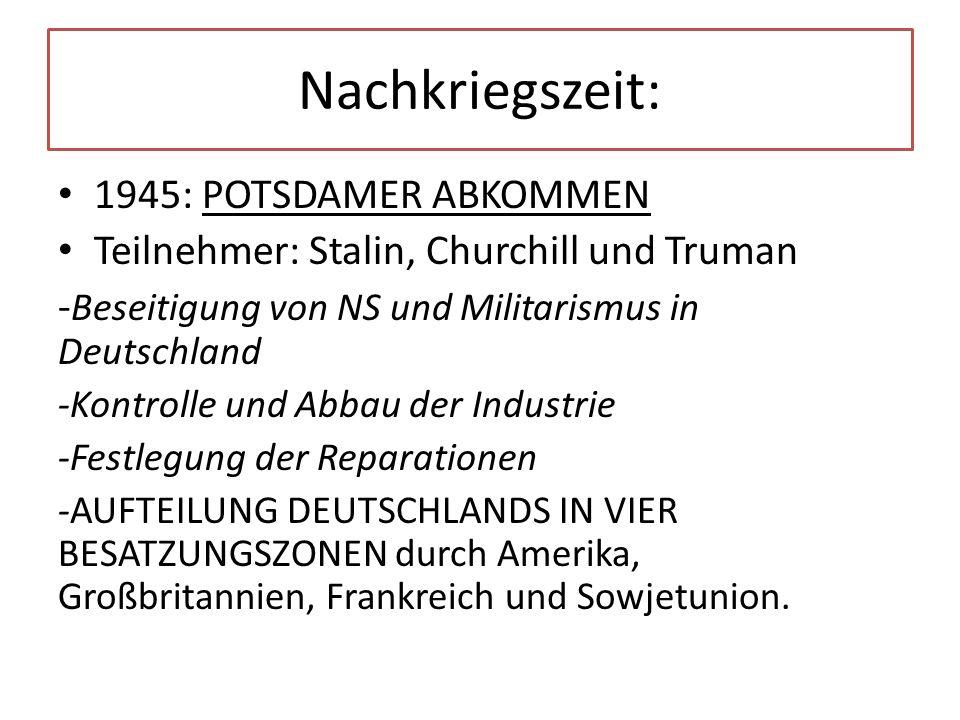 Nachkriegszeit: 1945: POTSDAMER ABKOMMEN