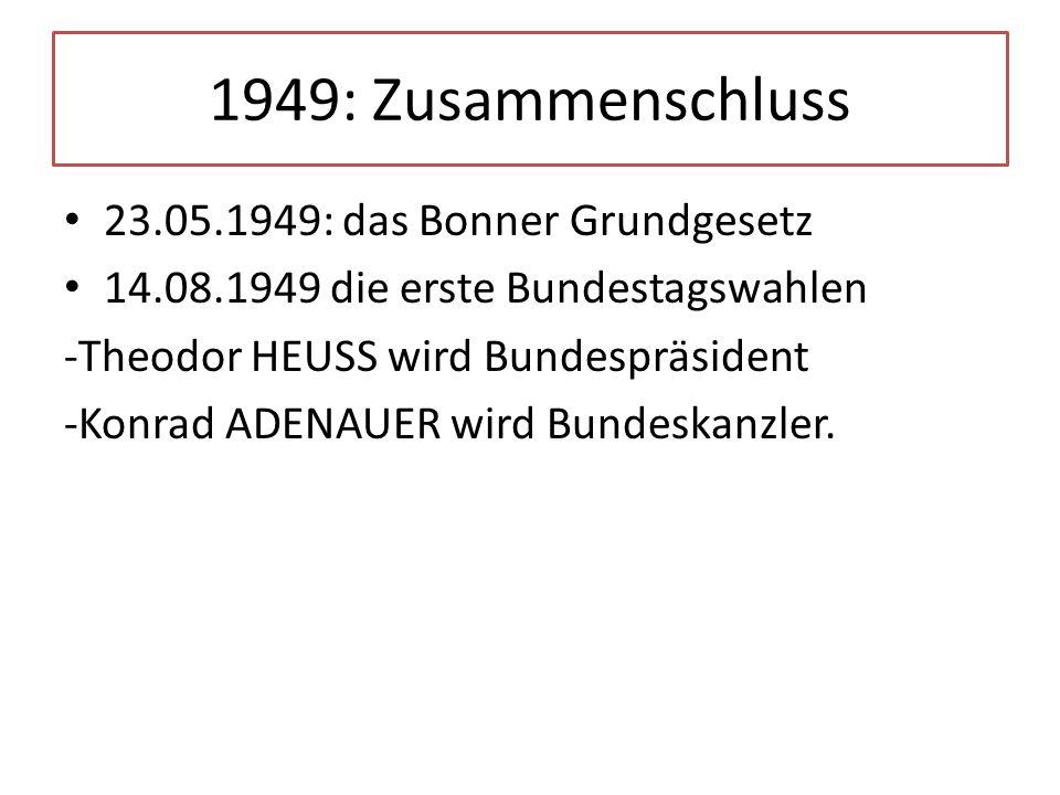 1949: Zusammenschluss 23.05.1949: das Bonner Grundgesetz
