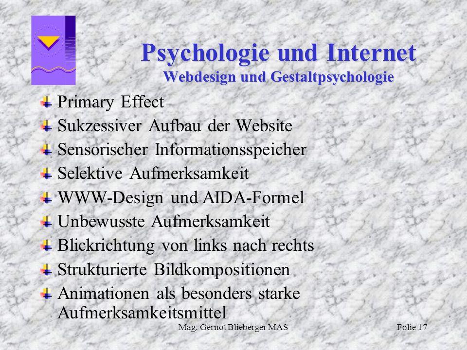 Psychologie und Internet Webdesign und Gestaltpsychologie