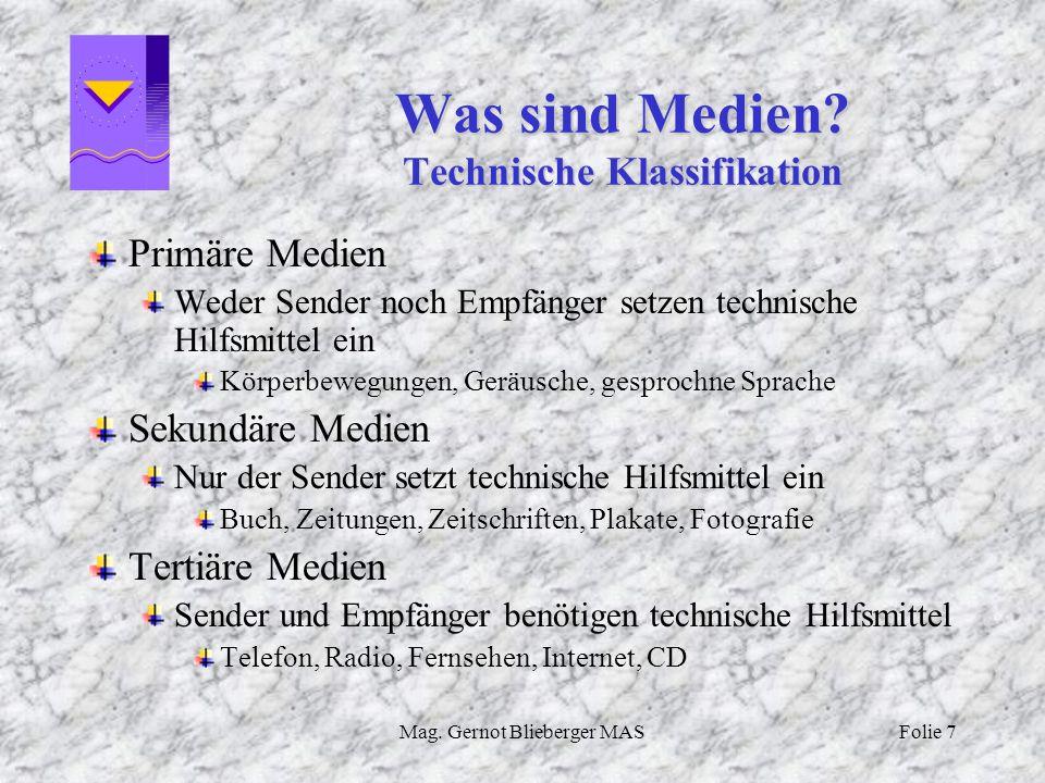 Was sind Medien Technische Klassifikation
