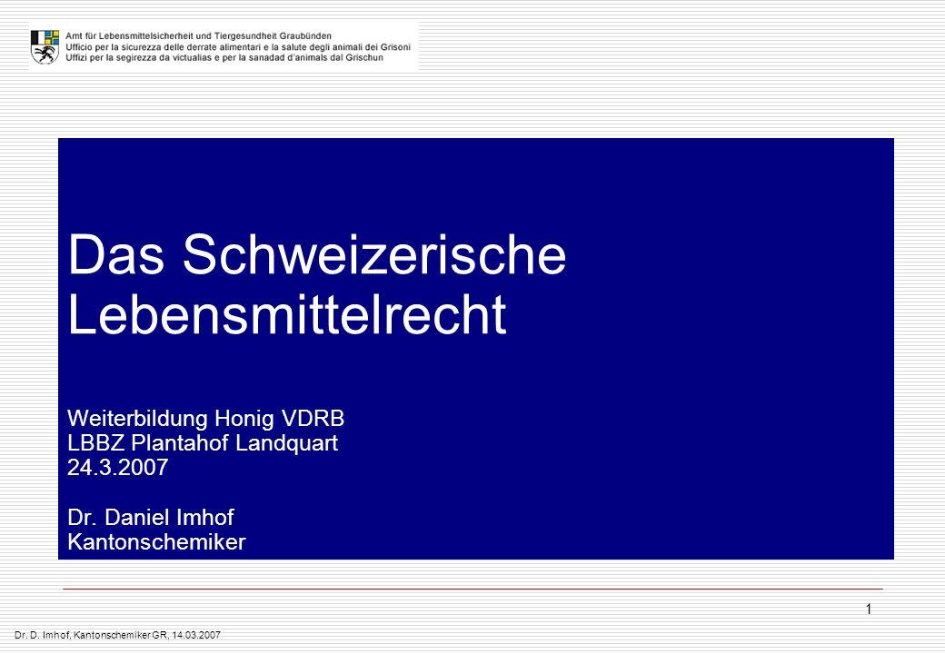 Das Schweizerische Lebensmittelrecht Weiterbildung Honig VDRB LBBZ Plantahof Landquart 24.3.2007 Dr.