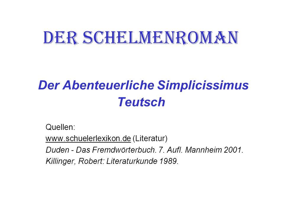 Der Schelmenroman Der Abenteuerliche Simplicissimus Teutsch
